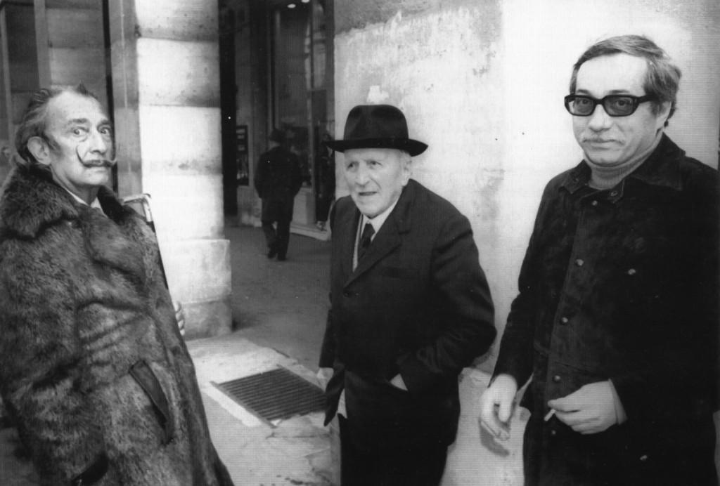 Dalí, Piñole y Orlando Pelayo en París